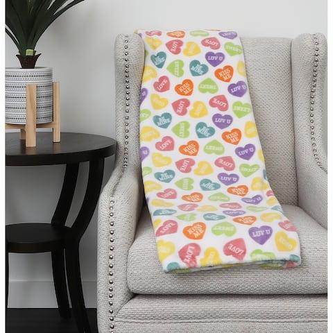 """50x70"""" Calico Heart Candy Printed Fleece Throw"""