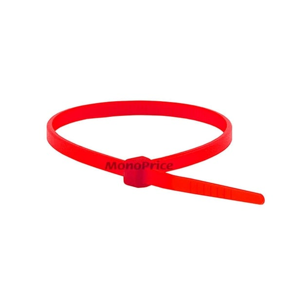 Monoprice 8-inch Cable Tie, 100pcs/Pack, 40 lbs Max Weight - Red