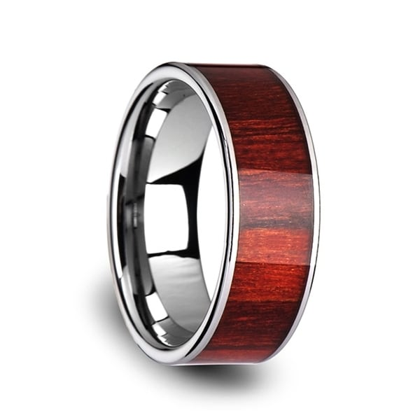 Sherwood Flat Tungsten Carbide Band With Exotic Brazilian Rose Wood Inlay And Polished Edges