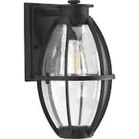 """Progress Lighting P560024 Pier 33 Single Light 8-1/8"""" Wide Outdoor Wall Sconce with Clear Seeded Glass Globe"""