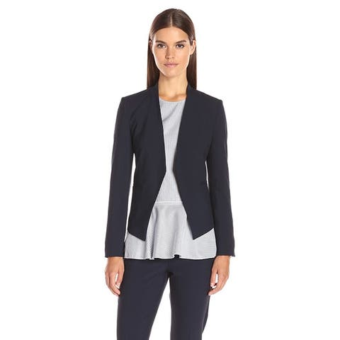 Theory Womens Lanai Edition 4 Jacket Blazer Navy Blue Open Style Suiting Carere