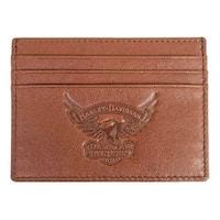 """Harley-Davidson Men's Eagle Embossed Leather Front Pocket Wallet EE9076L-SCOTCH - 4.5"""" x 3.5"""""""