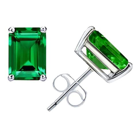 Emerald Sterling Silver Octagon Stud Earrings by Orchid Jewelry