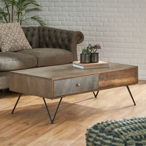 Statham Indoor Mango Wood Handcrafted Coffee Table with Drawers by Christopher Knight Home