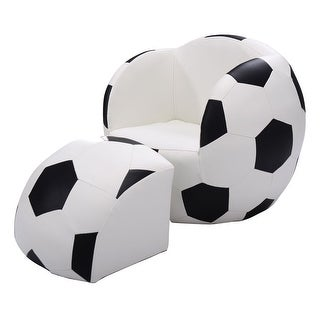 Costway Football Shape Kids Sofa Chair Couch Children Toddler Birthday Gift w/ Ottoman