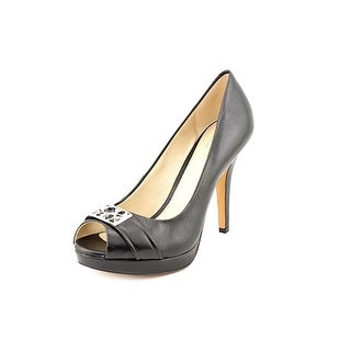 Coach Aliya Peep-Toe Leather Heels