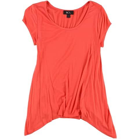 BCX Womens Draped Basic T-Shirt, Red, Small