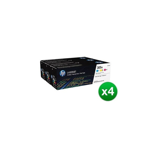 HP 305A Original LaserJet Toner Tri-Color 3 Cartridges (CF370AM)(4-Pack)