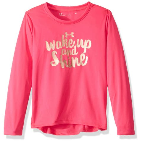 Under Armour Girl's Top Gold Pink Size 2T Wake Up and Shine Graphic