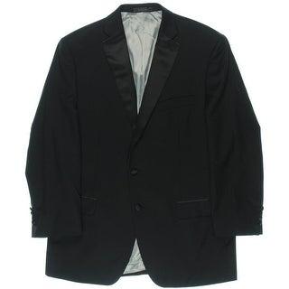 Calvin Klein Mens Wool Twill Satin Trim Two-Button Blazer