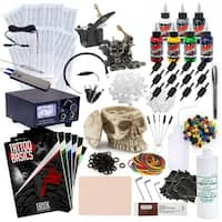 Rehab Ink Complete Tattoo Set w/ 2 Machines, Power Supply, 7 Millennium Mom's Ink Colors, Skull Ink Holder & More