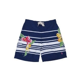 f6e49e60de3ca Polo Ralph Lauren Men's Kailua Stripe/Floral Swim Trunks (S, Navy) -