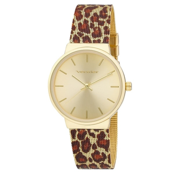 Vernier Womens Animal Print Mesh Strap Watch. Opens flyout.