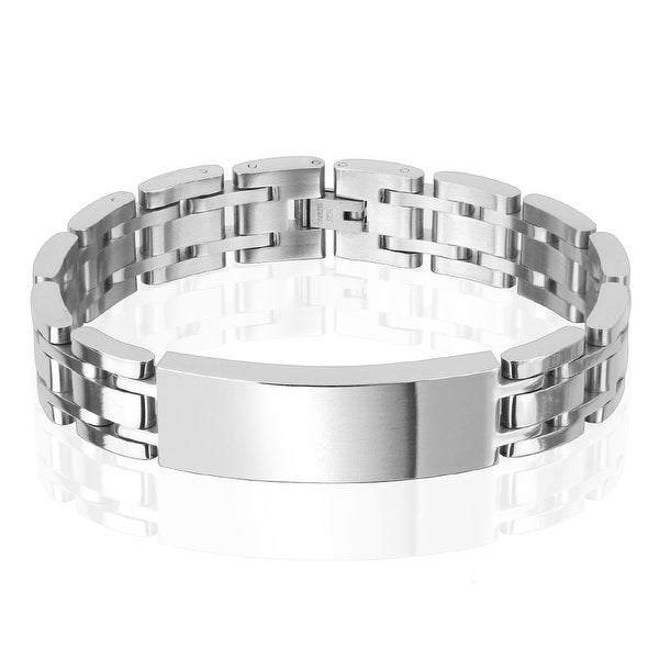 14mm Classic Chain with ID Plate Stainless Steel Bracelet (14 mm) - 8.5 in