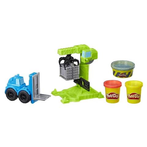 Play-Doh Wheels Crane And Forklift Construction Toys With Non-Toxic Play-Doh Cement Buildin' Compound Plus 2 Additional