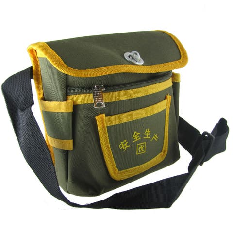 Unique Bargains Army Green Yellow Dual Compartments Electrician Shoulder Bag