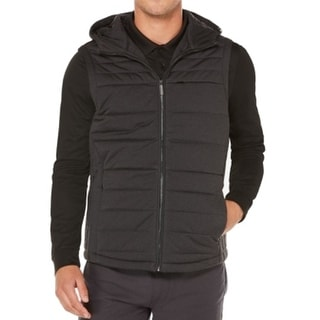 Perry Ellis NEW Black Mens Size Large L Hooded Puffer Vest Jacket