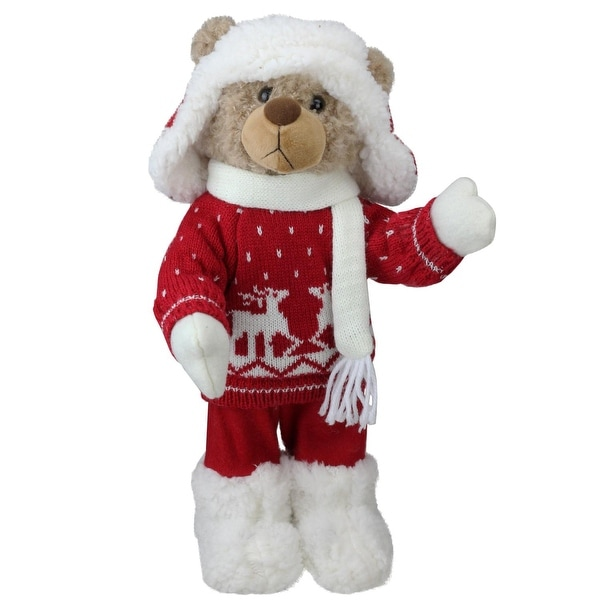 "14"" Brown Winter Boy Bear in Deer Sweater Christmas Figure Decoration - WHITE"