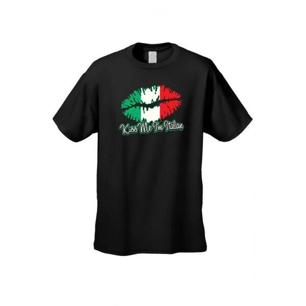 Men's T-Shirt Funny Kiss Me I'm Italian Italy Pride Jersey Shores Unisex