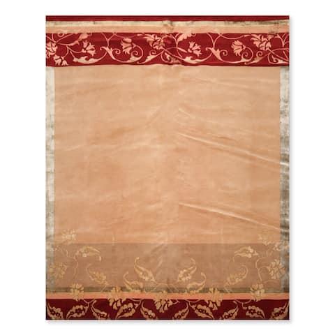 Hand Knotted Superfine Tan,Taupe Tibetan Oriental Area Rug Wool & Silk Transitional Oriental Area Rug (8x10) - 8' x 10'
