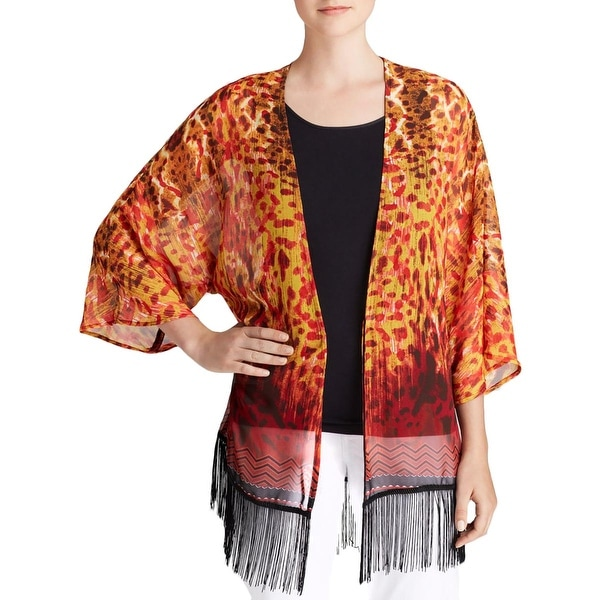 Status by Chenault Womens Cardigan Top Sheer Printed