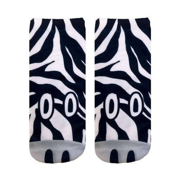 Zebra Photo Print Ankle Socks - Black