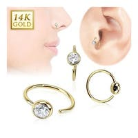 14 Karat Solid Yellow Gold Ball CZ Hoop Ring (Sold Ind.)