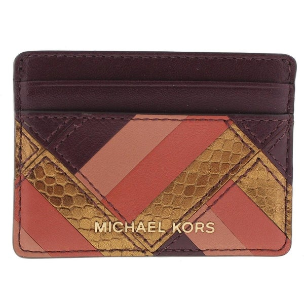 Michael Kors NEW Marquertry Jet Set Plum Purple Mini Wallet Leather