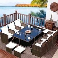 Costway 11 PCS Outdoor Patio Dining Set Metal Rattan Wicker Furniture Garden Cushioned - as pic