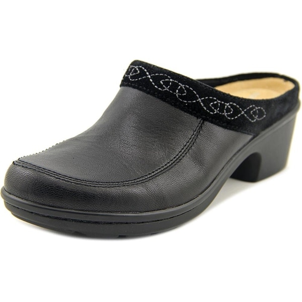Easy Spirit Lugano Women Round Toe Leather Black Mules