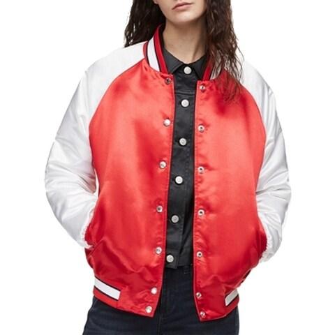 Calvin Klein Red Womens Size Medium M Two Tone Varsity Jacket
