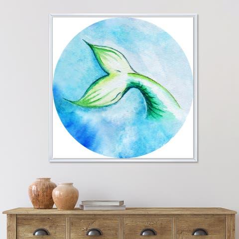 Designart 'Mermaid Fish Tail' Nautical & Coastal Framed Canvas Wall Art Print