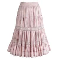 "Women's Pink Blush Boho Mid-Calf Maxi Skirt - 30"" Long"