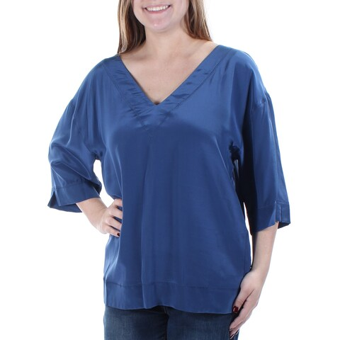 TRINA TURK $228 Womens New 1695 Blue V Neck 3/4 Sleeve Tunic Casual Top M B+B