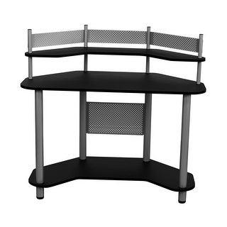 Offex Study Corner Desk - Silver/Black