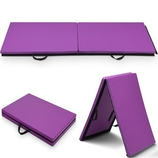 Costway 6x 2Gymnastics Mat Thick Two Folding Panel Gym Fitness Exercise Purple