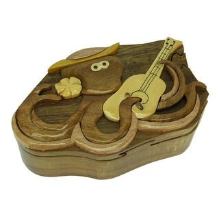 Hand Crafted Wood Octopus and Guitar Puzzle Trinket Box - 2.38 X 6.25 X 3.75 inches