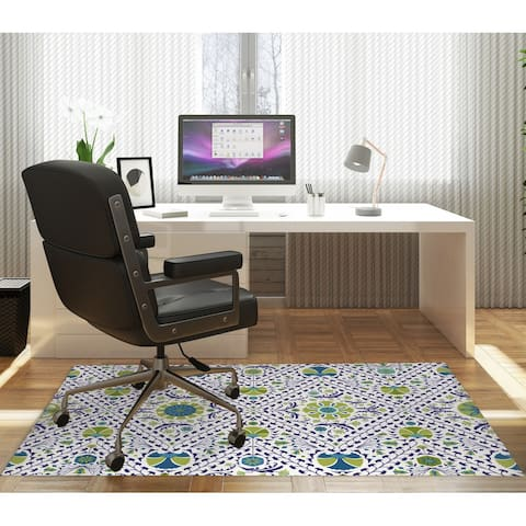 SUZANI IN TILES GREEN BLUE Office Mat By Marina Gutierrez