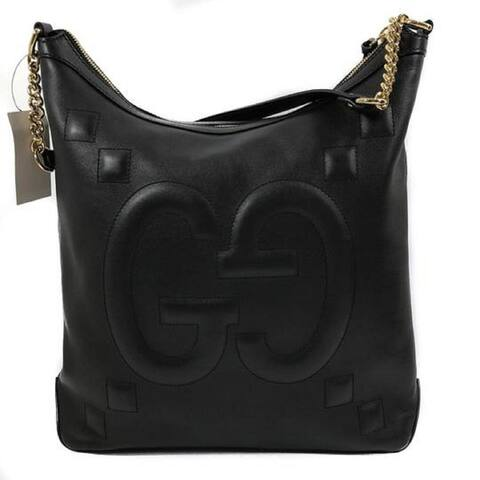 Gucci Apollo Embossed GG Dadini Black Leather Medium Hobo Bag 453562