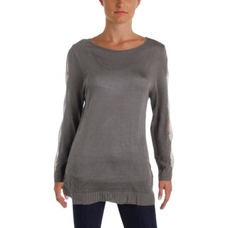 NY Collection Womens Pullover Sweater Ribbed Knit Open Sleeve (Option: lacey - L)