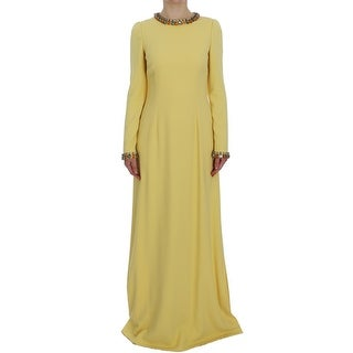 Dolce & Gabbana Dolce & Gabbana Yellow Silk Crystal Embellished Gown Dress - it40-s