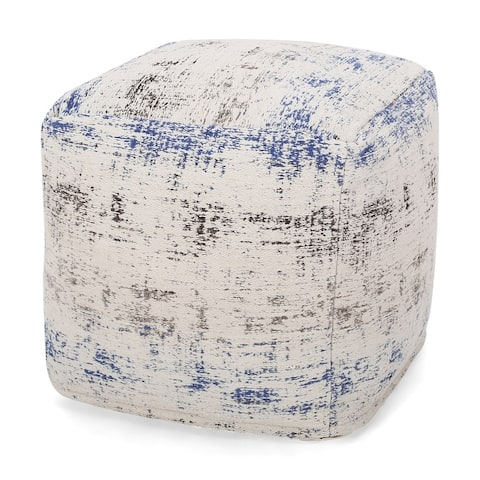 Colane Hand-Loomed Boho Fabric Cube Pouf by Christopher Knight Home