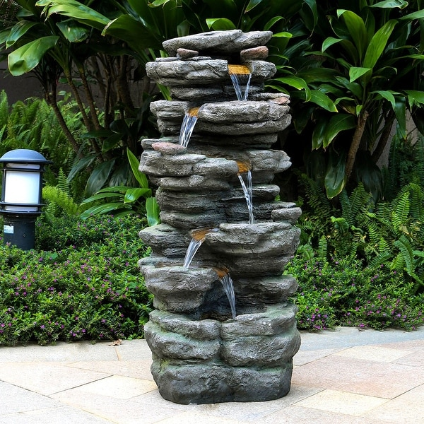 Outdoor 6-tier Rock Cascading Water Fountain with LED Lights. Opens flyout.