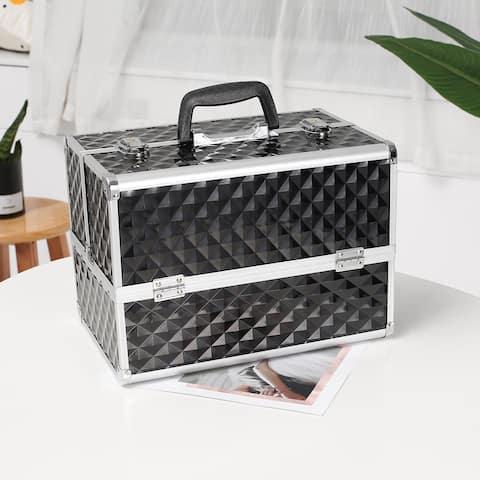 "13.5"" Makeup Train Case Professional Cosmetic Box - Black"
