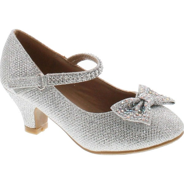 Link Justice-05 Girls Peagent Ball Party Wedding Medium Height Dress Heels - Silver
