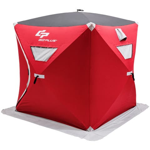 Goplus Portable Pop-up 3-person Ice Shelter Fishing Tent Shanty w/ Bag