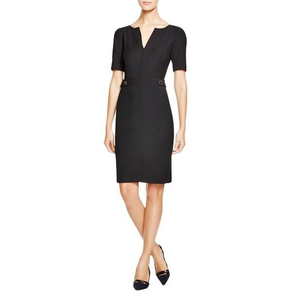 6170d30e53d Shop Tory Burch Womens Lydia Cocktail Dress Wool Blend Split ...