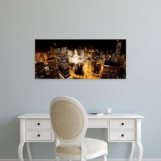Easy Art Prints Panoramic Image 'USA, Illinois, Chicago, Chicago River, View of the city at night' Canvas Art