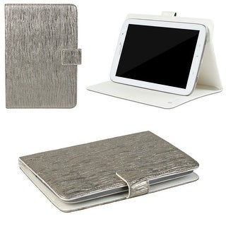 "JAVOedge Metallic Wave Universal 7-8"" Book Case for the iPad Mini, Samsung Tab, Nexus 7, Nook HD (Silver)"