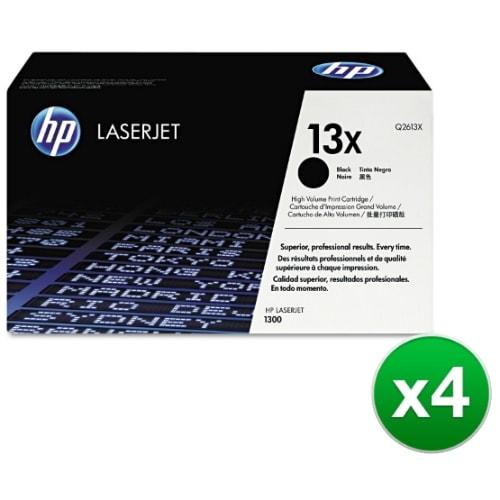 HP 13X Black Original LaserJet Toner Cartridge (Q2613X)(4-Pack)